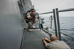 Sailors conduct VBSS training. (Official U.S. Navy Imagery) Tags: heritage america liberty freedom commerce unitedstates military navy sailors fast worldwide tradition usnavy protect deployed flexible onwatch beready defendfreedom warfighters nmcs chinfo us5thfleetareaofresponsibility sealanes warfighting preservepeace deteraggression operateforward warfightingfirst navymediacontentservice