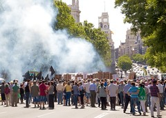 Spanish Protests (paulgmccabe) Tags: madrid city spain europe smoke capital protest spanish capitalcity