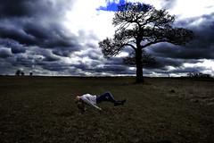 (.Lianne) Tags: sky tree green girl field grass clouds contrast dark landscape photography nikon surrealism surreal levitation manipulation blonde drmarten