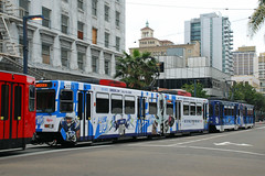 Sports Trolley (So Cal Metro) Tags: promotion advertising marketing sandiego metro trolley ad siemens tram wrap transit padres lightrail lrt mts chargers sd100 lrv sandiegotrolley