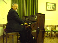 Organist Paul Gregson at the Harmonium of Hawkshead Masonic Lodge, Cumbria. (Paul Gregson) Tags: organ cumbria harmonium organist hawkshead organconsole hawksheadmarkethall