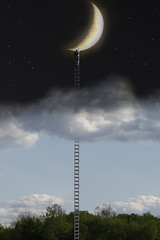 Night and day (Notkalvin) Tags: fiction sky moon composite photoshop crescent fantasy imagination ladder create lunar edit nightandday celestial digitalmanipulation splitscreen dayandnight project366 notkalvin
