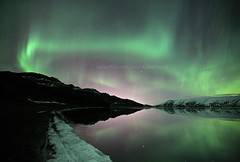 Iceland's Aurora (baddoguy) Tags: winter sky mountain lake snow reflection green beach water landscape star iceland paint flickr landmark icon images explore getty iconic highlight northernlights auroraborealis gettyimages multicolour naturalphenomenon kleifarvatn gettyimagesstock