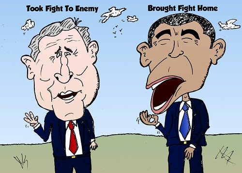 binary options news caricature bush and obama strategy to fight the enemy