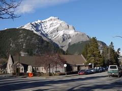 Banff (Rachel Newall) Tags: canada banff banffnationalpark mountain snow church street