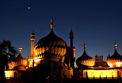 One Thousand and One Nights in Brighton (Serge Freeman) Tags: uk england moon architecture night lights brighton clear