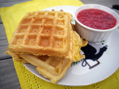 2013-04-20 - VB Cornbread Waffles - 0003 (smiteme) Tags: food vegan strawberries vegetarian brunch waffles veganism cornmeal herbivore vegetarianism meatless veganbrunch isachandramoskowitz meatfree whatveganseat
