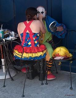 howweirdstreetfaire streetphotography sanfrancisco festival fair clown makeup color blinkagain whiteface whitefaceclown stephensondheim sendintheclowns facepainting face
