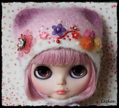 OOAK Blythe Beautiful Felted Hat, hand dyed by me.