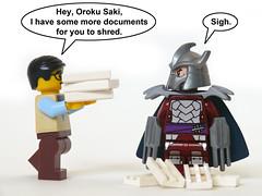 Shredder's Day Job (Oky - Space Ranger) Tags: paper office funny day lego ninja turtles mutant job tmnt teenage shredder