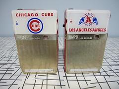 CHICAGO CUBS TRANSISTOR RADIO TR-604  &  LOS ANGELES ANGELS TRANSISTOR RADIO (Pete's Radioworld) Tags: chicago radio los angeles angels cubs transistor tr604