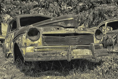 yellowed and aged