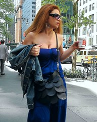 feeling blue (omoo) Tags: newyorkcity girl pretty manhattan feelingblue streetscene lunchhour midtown coffeee 42ndstreet bluedress bareshoulders dccn3558