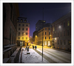 Oslo Street Scene (paulmcdee) Tags: street travel winter snow cold tourism weather oslo norway night canon lights neon gallery tourist powershot national scandinavia s100 5photosaday topqualityimagesonly
