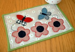 Butterfly Mug Rug (The Patchsmith) Tags: flowers butterfly pattern quilting patchwork applique binding mugrug patchsmith