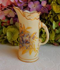 Antique Royal Worcester Porcelain Pitcher Floral ~ Gold Encrusted 1891 (Donna's Collectables) Tags: antique royal worcester porcelain pitcher floral ~ gold encrusted 1891