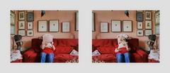 """Cooperation Lotti (6 years) and me Gemeinschaftsarbeit Lottchen (6 Jahre) und ich. Zeitung lesen Standard, Lotti Aktion mit Blumen Polstern. Photos by Lotti with my camera 27. Juni 2016 - (nicht: """"in den Augen der anderen"""") (hedbavny) Tags: gemeinschaftsarbeit cooperation collaboration leisure freizeit kooperation zusammenarbeit aktion aktionismus aktionskunst spiel play game spielen kid child girl mdchen woman frau female zeitung standard newspaper read lesen polster blume flower blossom blhen verblhen getrocknet trockenblume ikebana blumengesteck gesteck pillow weis white red rot blue jeans blau green grn black schwarz painting drawing gemlde malerei zeichnung art kunst marionette kimono design schnittmuster sewingpattern passepartout spiegel spiegelung mirroring glas glass table tisch wien vienna austria sterreich hedbavny ingridhedbavny"""