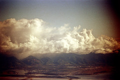 33-609 (ndpa / s. lundeen, archivist) Tags: nick dewolf nickdewolf 33 reel33 color photographbynickdewolf 1970s 1972 fall film 35mm winter 1973 aerial fromtheair fromtheairplanewindow hawaii honolulu oahu hills mountains clouds landscape