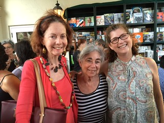 Elisa Turner and Ilana Vardy from ARTtuesdays program committee with artist Karen Rifas