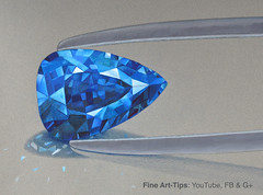 How to Draw a Sapphire - Blue - With Color Pencils (fineart-tips) Tags: art drawing finearttips sapphire jewerly artistleonardo leonardopereznieto tutorial tutto3 realisticdrawings