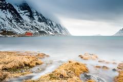 """Lofoten2016-6 (Federico """"Jger"""" Serafini) Tags: norvegia lofoten ghiaccio rocce rocks norway aurora boreale northern light clouds nuvole sea spiaggia long exposure"""