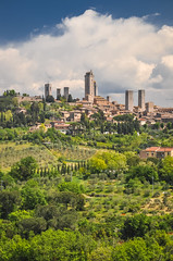 San Gimignano (ccr_358) Tags: ccr358 2016 spring primavera april aprile day postcard cartolina italia italy italien italie toscana tuscany provinceofsiena town village borgo medieval sangimignano walled towers hilltop unesco valdelsa historiccentre torri landscape view scenery panorama skyline