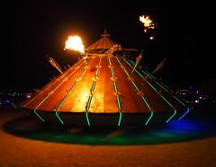 Mona Lisa Art Car (michicat) Tags: burningman brc blackrockcity playa nevada burningmanatnight fire fireart