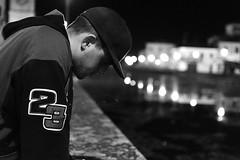 #boy #night #black #white #light #river (chiara_maistro) Tags: boy night black white light river