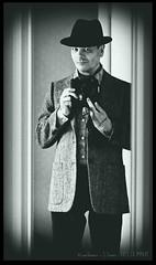 Grainy Selfie in the Mirror (zweiblumen) Tags: selfie monochrome canoneos50d canonef50mmf18ii polariser trilby zweiblumen