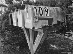Mailboxes (scottnj) Tags: mailbox rural ruralmailboxes rusty old quaint scottnj scottodonnellphotography cy365 259366 365project redditphotoproject reddit365 monochrome bw blackandwhite 109
