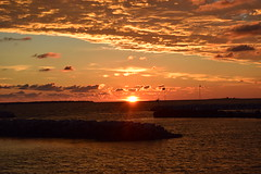 Breaking (marensr) Tags: sunrise port des morts deaths door lake michigan county clouds cloudy cloudscape peach blue nature weather light dawn