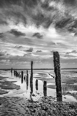 Winchelsea beach. (Len Spen) Tags: seafront outdoor nikon d5000 monochrome blackandwhite bw sea groins