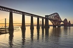 Forth Bridges Sunset 5 April 2013 (Grant_R) Tags: sunset scotland edinburgh firthofforth forthbridge southqueensferry forthroadbridge forthbridges railbridge roadbridge grantr april2013