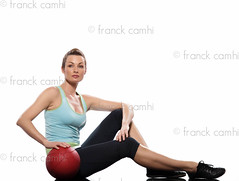 woman holding fitness ball Worrkout Posture exercise (Franck Camhi) Tags: people woman white france cute sports girl beautiful beauty female training cutout pose person one 1 sitting slim exercise fulllength bodybuilding indoors whitebackground studioshot posture bodybuilder workout fitness position aerobics pilates positions caucasian sportswear exercising lookingatcamera swissball fitnessball
