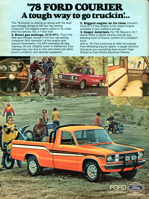 ford car truck may pickup advertisement and driver 1978 courier