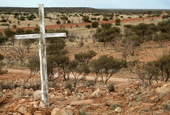 The White Cross (cowyeow) Tags: wood old travel abandoned grave landscape religious peeling cross desert god painted faith religion belief australia roadtrip christian faded forgotten believe vista wa christianity westernaustralia gravesite woodcross whitecross