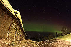 AURORA (magnusl67) Tags: wood winter white barn nightshot sweden jmtland auroraborealis norrsken northernlight canoneos50d hkvattnet magnuslgdberg