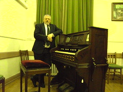 Organist Paul Gregson, at the Harmonium of the Masonic Lodge in The Market Hall, Hawkshead, Cumbria. (Paul Gregson) Tags: organ cumbria harmonium organist hawkshead organconsole