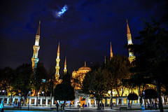 Blue Mosque - Sultan Ahmed Mosque - Istanbul Turkey at night (mbell1975) Tags: blue night turkey evening worship dusk minaret trkiye istanbul mosque trkei dome sultan ottoman ahmed hdr minarets sultanahmet camii trkisch blinkagain flickrstruereflection1