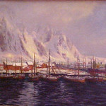 "<b>Harbor at Lofoten Islands</b><br/> Ouren, Oil, LFAC# 974, Painting<a href=""http://farm9.static.flickr.com/8263/8671683155_f59c135311_o.jpg"" title=""High res"">∝</a>"