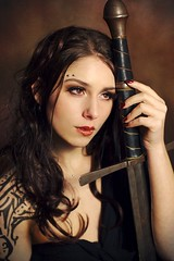 Kassandra: fire in her eyes (gestiefeltekatze) Tags: tattoo sensual fantasy weapon sword kassandra royo