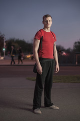 (Jurica Kos) Tags: road city light boy man guy night bag moody availablelight redshirt sweatpants