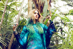 TROPICAL GODDESS (MAELLE ANDRE) Tags: blue green girl sunglasses leather fashion hair palms photography model dress turquoise teal goddess cyan fanny vert andre bleu palmtrees galaxy blond nebula tropical tropic mode andr maelle cmyk malle myard fillesapapa pieceofchic