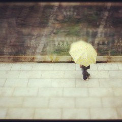 Chinese whispers (badjonni) Tags: woman black blur japan umbrella walking square dress doubleexposure traditional squareformat yelow rise iphoneography instagramapp uploaded:by=instagram