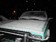 bad snow. no. no. go home. (green rumble) Tags: snow cold spring montana jeep orbs coldweather jeepcherokee greenjeep