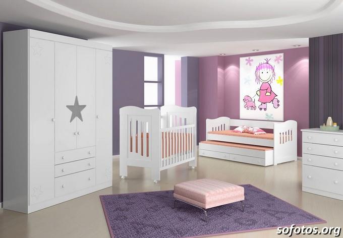 quartos de bebês lilas e branco