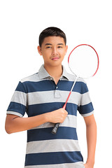 Asian teenager boy holding a badminton racket, Isolated on white (Patrick Foto ;)) Tags: school boy white man cute male nature beautiful childhood smiling sport birdie training pose asian person one kid holding energy child exercise emotion young meadow lifestyle glad player health thai teenager leisure recreation activity fitness badminton pleasure isolated position racket shuttlecock active stance caucasian sportswear battledore
