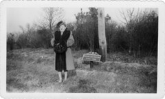 found photos (Woman Posing in Washington Crossing State Park) (William Keckler) Tags: blackandwhite strange fashion vintage found weird fifties random posing retro odd 1940s anonymous oldphotos fleamarket forties bizarre postwar foundphotos washingtoncrossing strangephoto washingtoncrossingstatepark oldblackandwhite fortiesfashions anonymousphotos fortiescoat
