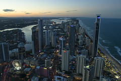 Surfers Paradise (Luke M B) Tags: ocean city sunset tower beach wheel town paradise dusk north ferris soul surfers q1
