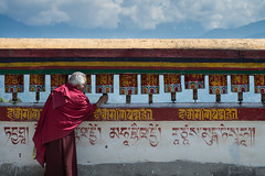 Prayer at Rumtek Monastery (Goldsaint) Tags: old india heritage wheel architecture asian religious temple ancient worship asia symbol decorative buddha buddhist indian traditional faith prayer religion pray culture belief monk buddhism holy monastery priest tradition himalaya pilgrimage sikkim religous mantra gangtok rumtek